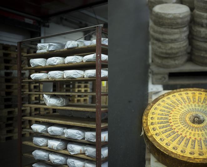 étagère de fromages et gruyère