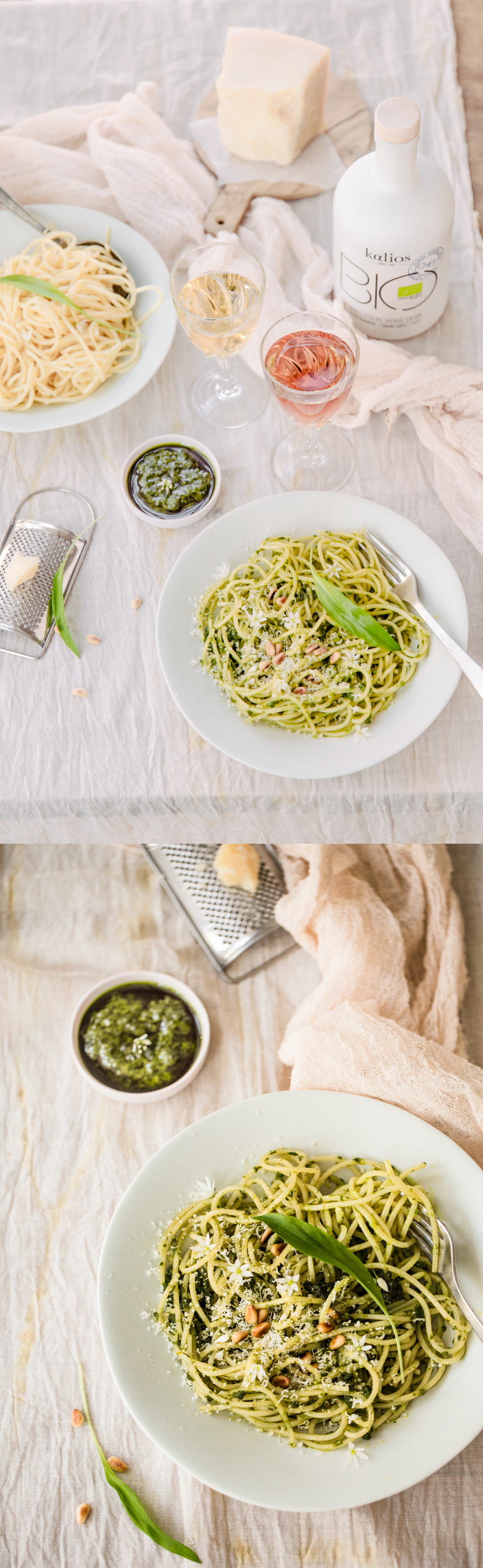 faites cuire les spaghetti-ajoutez le pesto-le parmesan et un filet d'huile d'olive kalios